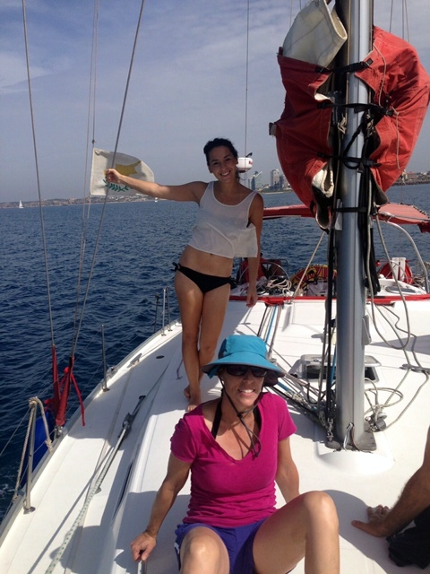 My Daughter Naomi and Wife Karen Enjoying the day at Sea