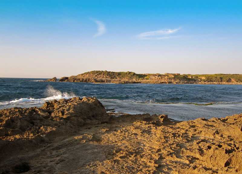 habonim beach at the base of the carmel mountains