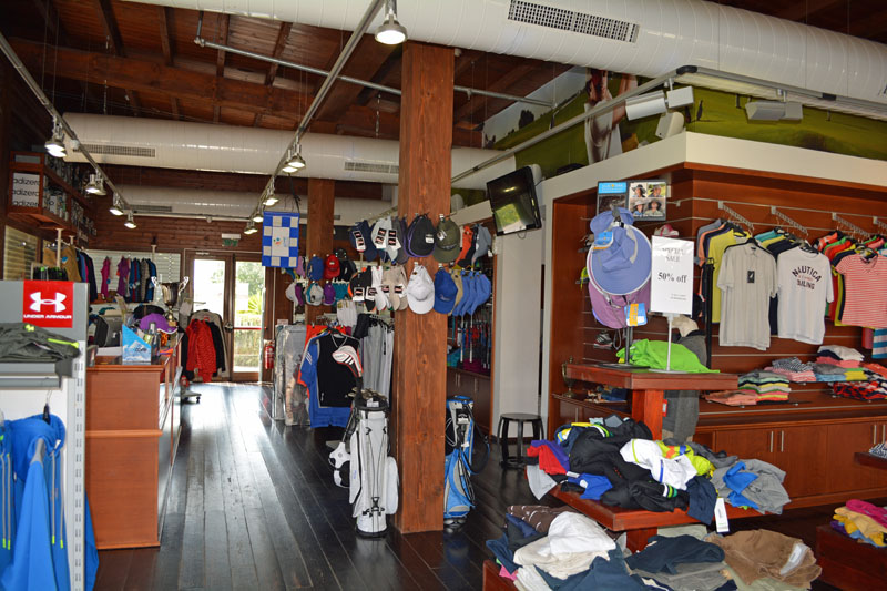 a pro shop with name brand golf and sporting equipment