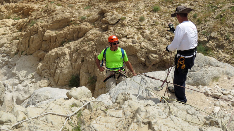 Rappelling at Qumran