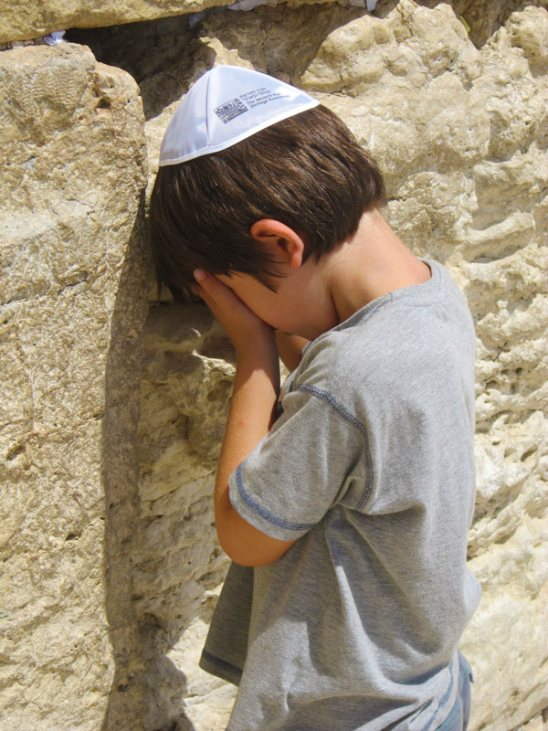 My 6 year old nephew Eden saying his first prayer at the wall