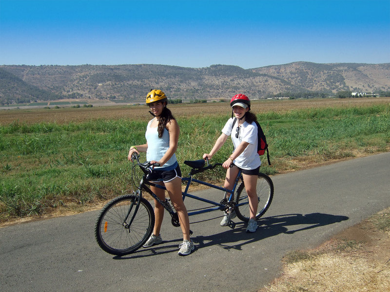 My daughters on a Tandem Bike at Ahula
