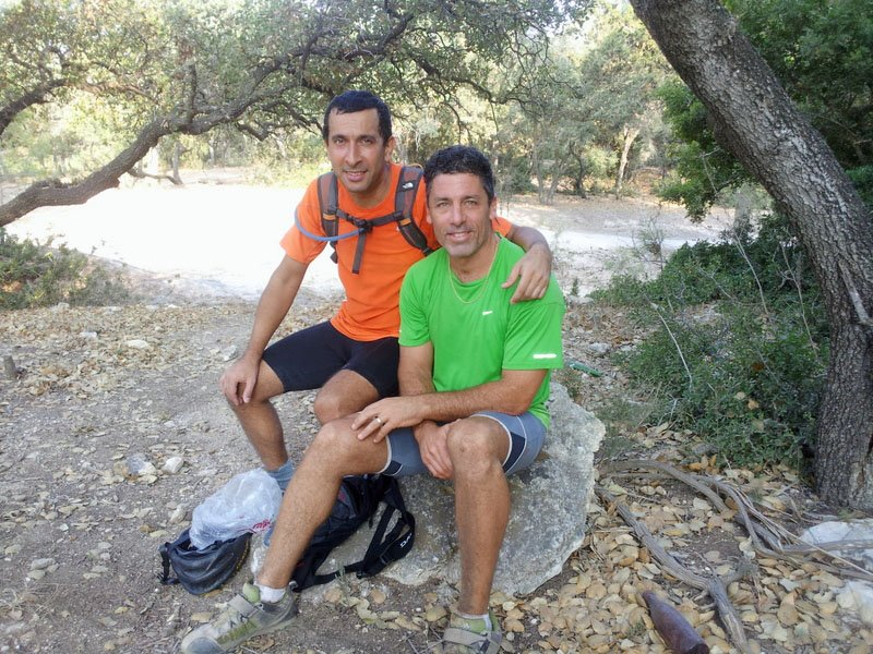 My riding buddy Yigal and I taking a break